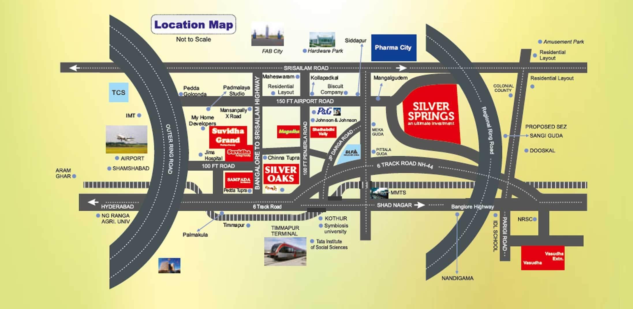 Silver Oaks Shamshabad plots location map
