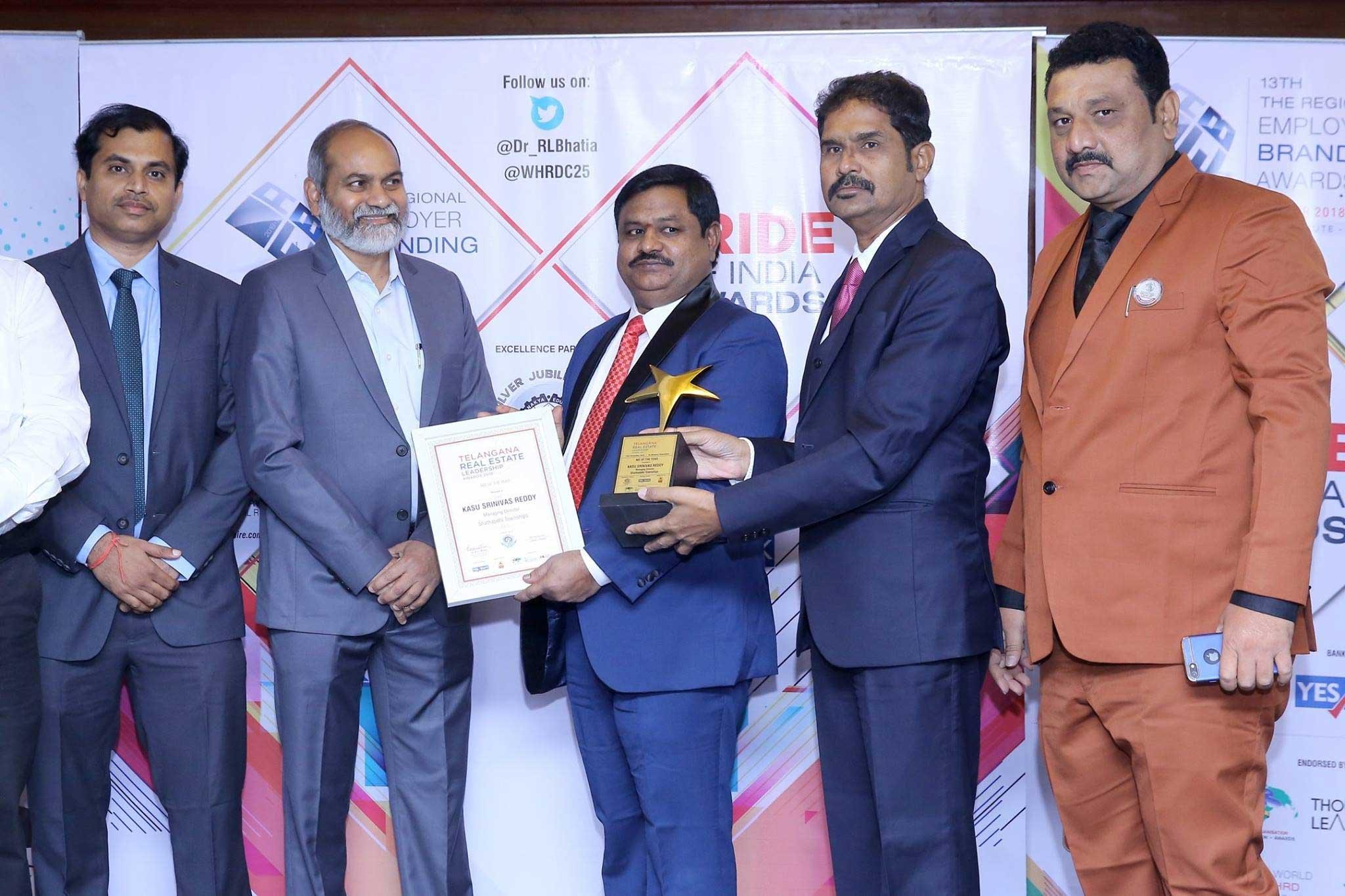 Awarded MD of the year Telangana Real Estate Leadership Awards 2018